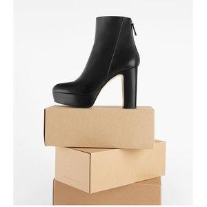 Zara chunky heel platform ankle leather  b…